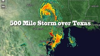 500 Mile Storm over Texas & rain across Plains & NE Coast USA