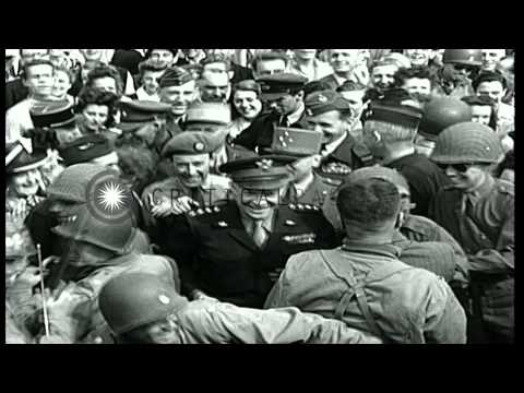 General Dwight Eisenhower in Paris during World War II. HD Stock Footage