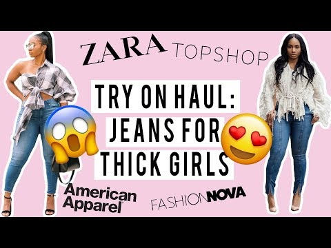 Jeans for THICK/CURVY GIRLS!!! Try on HAUL!!! Topshop, Zara, LolaShoetique, American Apparel etc... http://bit.ly/2WCYBow