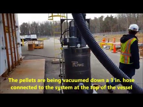 DS2720 Portable Vacuum & Dumpster Separator System by Ruwac (In Action Removing Alumina Pellets)