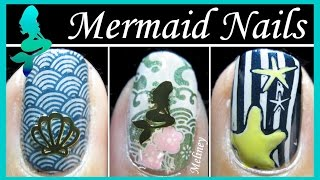 Mermaid Nails - Halloween Stamping Nail Art Design Tutorial Jq Image Plate Beach Sea Shell