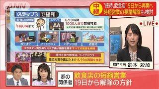 接待ともなう飲食店なども19日から再開を検討(20/06/11)