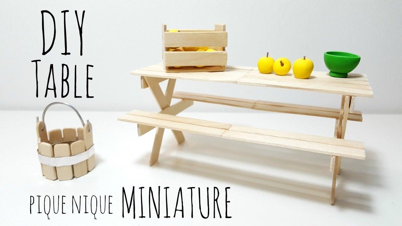 DIY JARDIN MINIATURE MAISON DE POUPÉE (PART2) TABLE PIQUE NIQUE EN BOIS