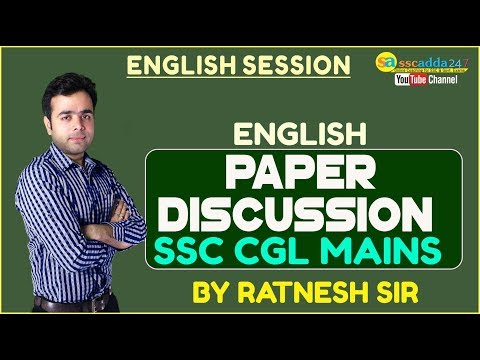 SSC CGL MAINS ENGLISH PAPER DISCUSSION BY RATNESH SIR