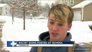 Franklin HS student put a white sign and Colored by the water fountain