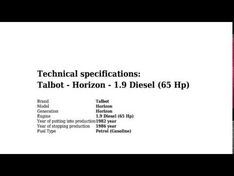 Talbot - Horizon - 1.9 Diesel (65 Hp) - Technical specifications