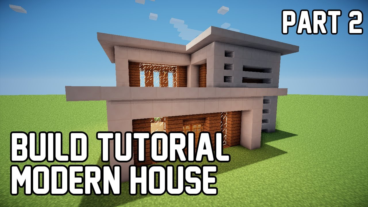 Minecraft how to make modern house 1 part 2 youtube for How to build a modern house