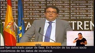 Extremadura solicita pasar de Fase en función de sus datos epidemiológicos