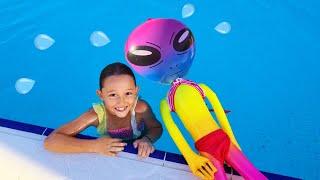 Öykü and Alien, teaches her funny Alien friend to swim for Kids
