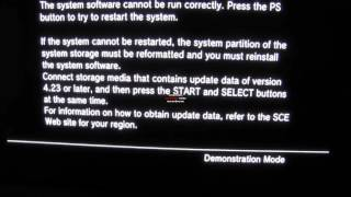PS3 with 4.23 firmware won't boot in recovery mode, demonstration mode only