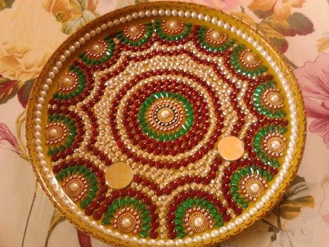 Festival special decorated plate thali youtube for Aarti thali decoration with flowers