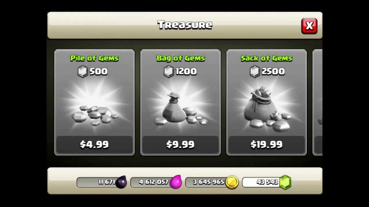 buy free gems in clash of clans