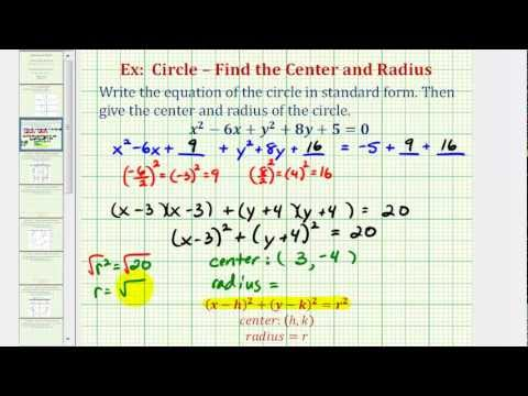 Ex 1: Write General Equation of a Circle in Standard Form