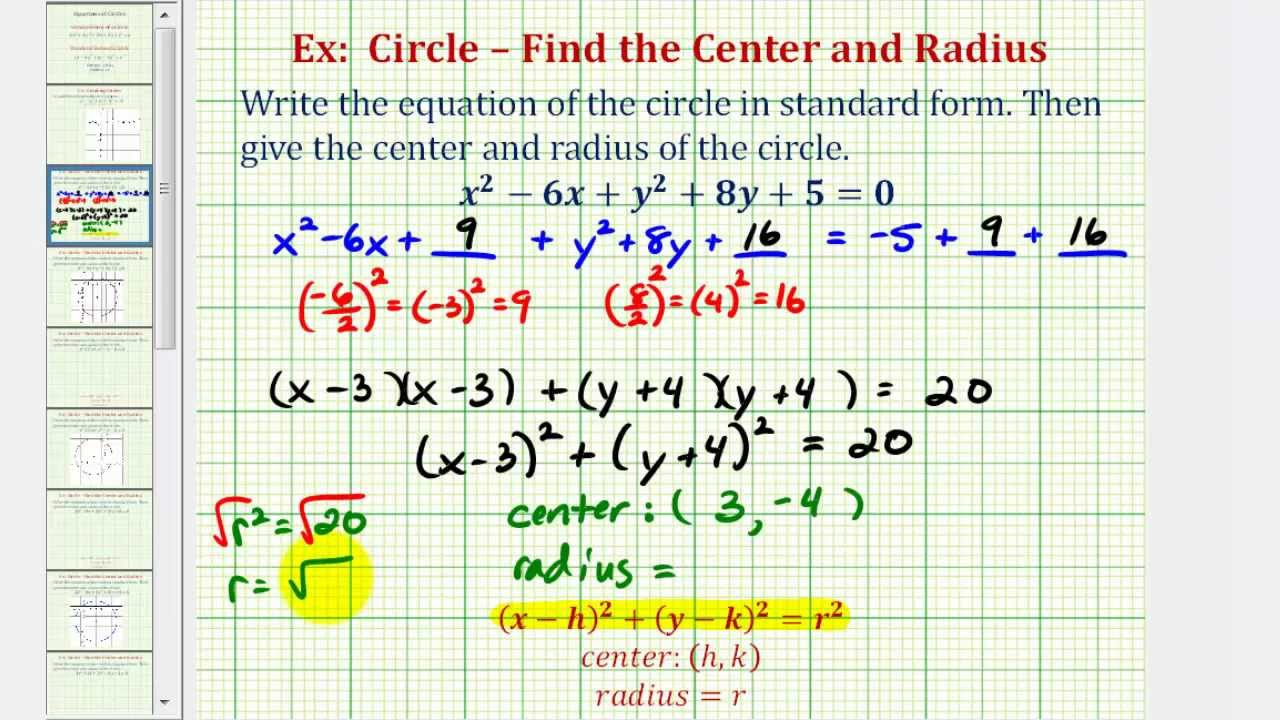 worksheet Writing Equations Of Circles ex 1 write general equation of a circle in standard form youtube