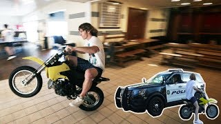 Dirtbike Inside A Frat House!