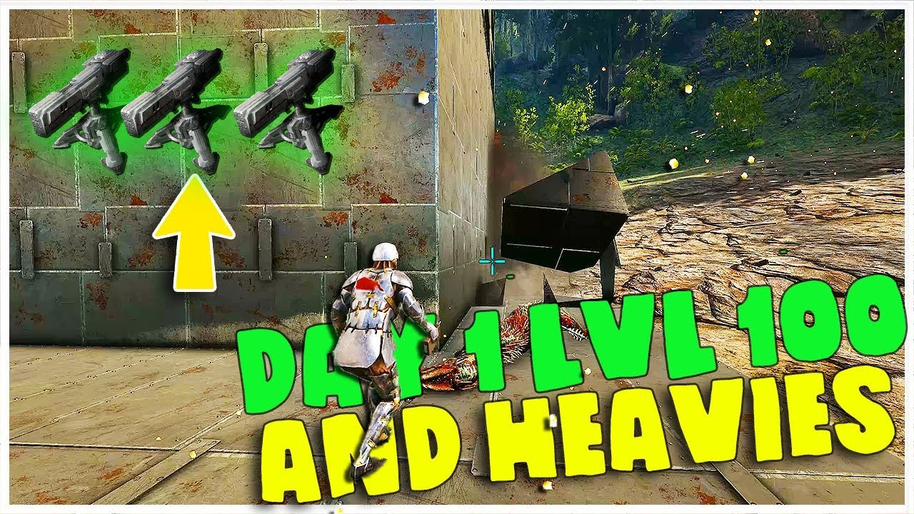 Day 1 level 100, heavies, Small RAIDS! Ark MTS SERVERS | Ark: Survival  Evolved