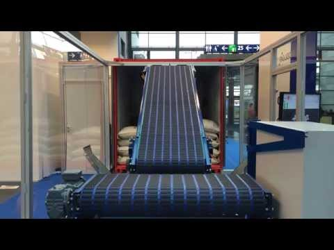 RobLog Industrial Demonstrator (CeMAT 2014) rear view of the Demo for Unloading of Coffee Sacks