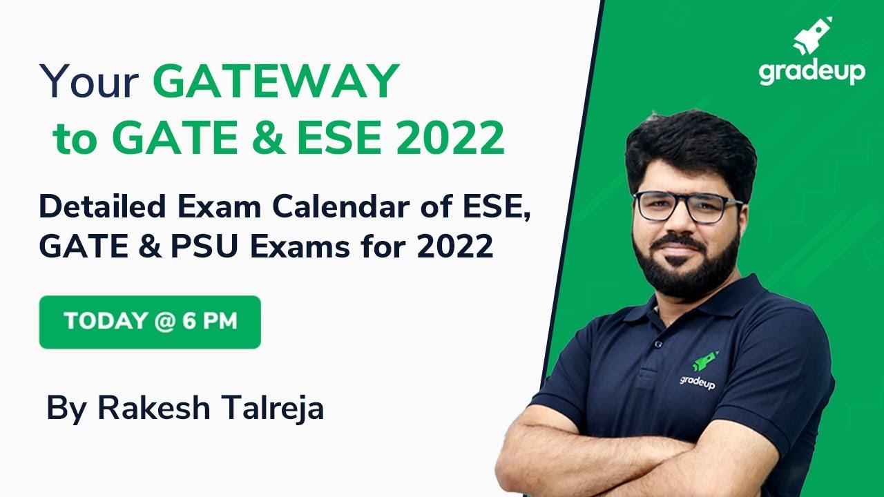 Psu Calendar 2022.Detailed Exam Calendar Of Ese Gate Psu Exams For 2022 Exam Preparation Plan Gradeup Youtube