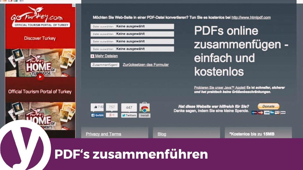 Einzelne PDF-Dateien zu einer PDF-Datei zusammenfügen - YouTube