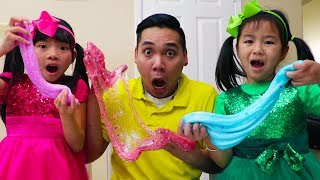 Jannie & Emma Pretend Play Making Satisfying Slime w/ Funny Colored Surprise Balloons