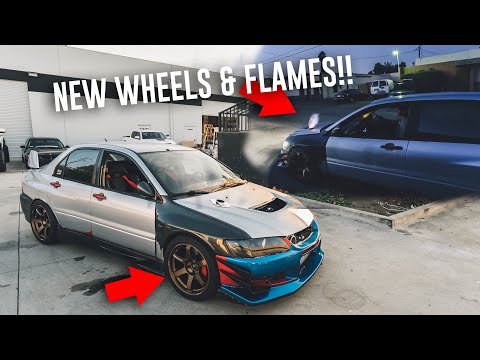 MY 510WHP EVO SHOOTS FLAMES - MOUNTING THE NEW TE37 WHEELS!