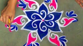 Shortcut Rangoli designs with 5x3 dots