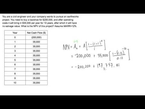 Net present value (NPV) example problem