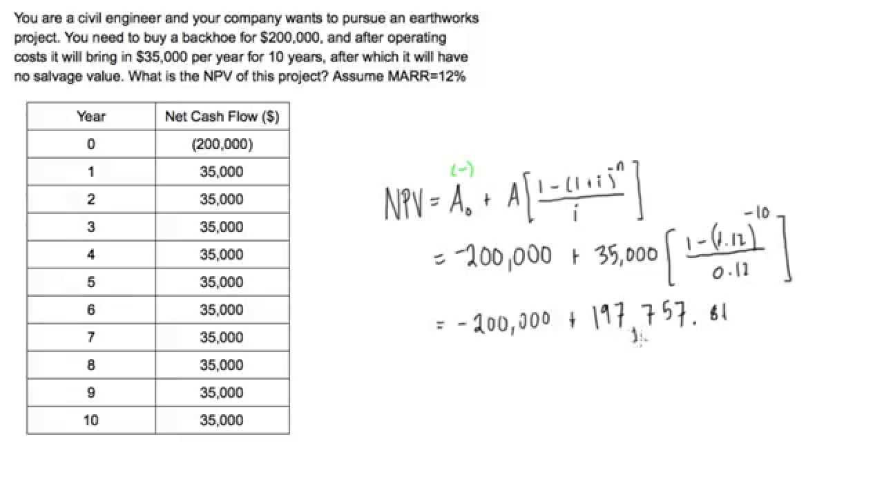 Net present value (NPV) example problem - YouTube
