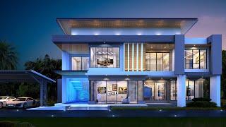 Проект дома в стиле хай тек. Дом с бассейном, сауной, террасами и балконом. Ремстройсервис V-435
