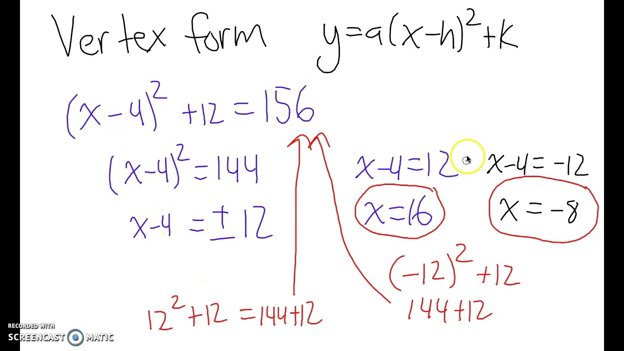 Solving quadratic equations with square roots in vertex form youtube solving quadratic equations with square roots in vertex form falaconquin