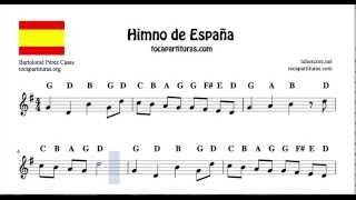 National Anthem of Spain Notes Sheet Music in G Major for Flute Violin Recorder Oboe