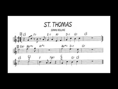 St. Thomas backing track play along Sonny Rollins (C key) score piano - guitar