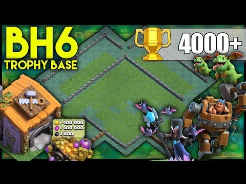 UNBEATABLE BUILDER HALL 6 [BH6] 4000+ Trophy Base! w/Replays   BEST BH6 BASE - Clash Of Clans