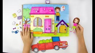 HANDMADE QUEITBOOK PAPER DOLLS FAMILY DOLLHOUSE PAPERCRAFT FOR KIDS