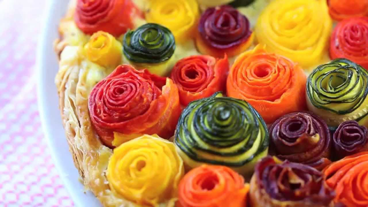 Zucchini and carrots roses tart recipe - YouTube