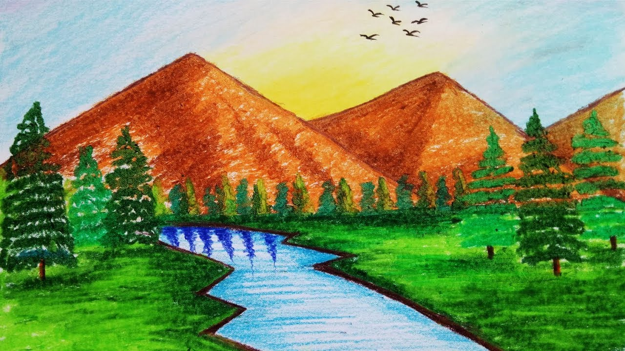 How To Draw Mountain Scenery Step By Step Easy Draw Youtube