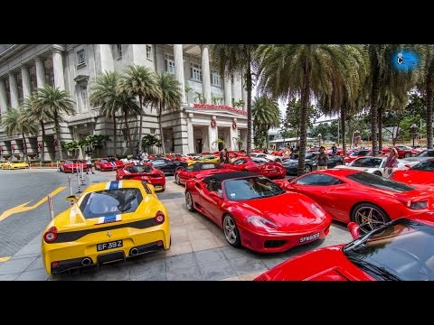 60 Ferrari Gathers in Fullerton Hotel Singapore !