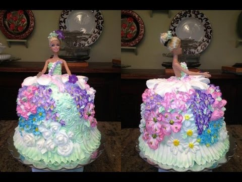 How To Make A Barbie Doll/Princess Cake And Decorat It With Flowers