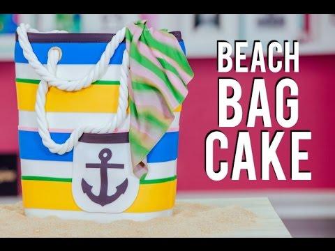 How To Make a BEACH BAG CAKE! Chocolate & Vanilla Cake for ...