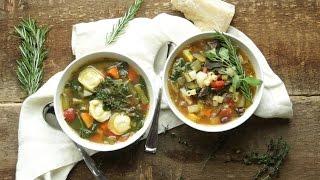 Beef & Vegetable Minestrone + Vegetable Tortellini Soup