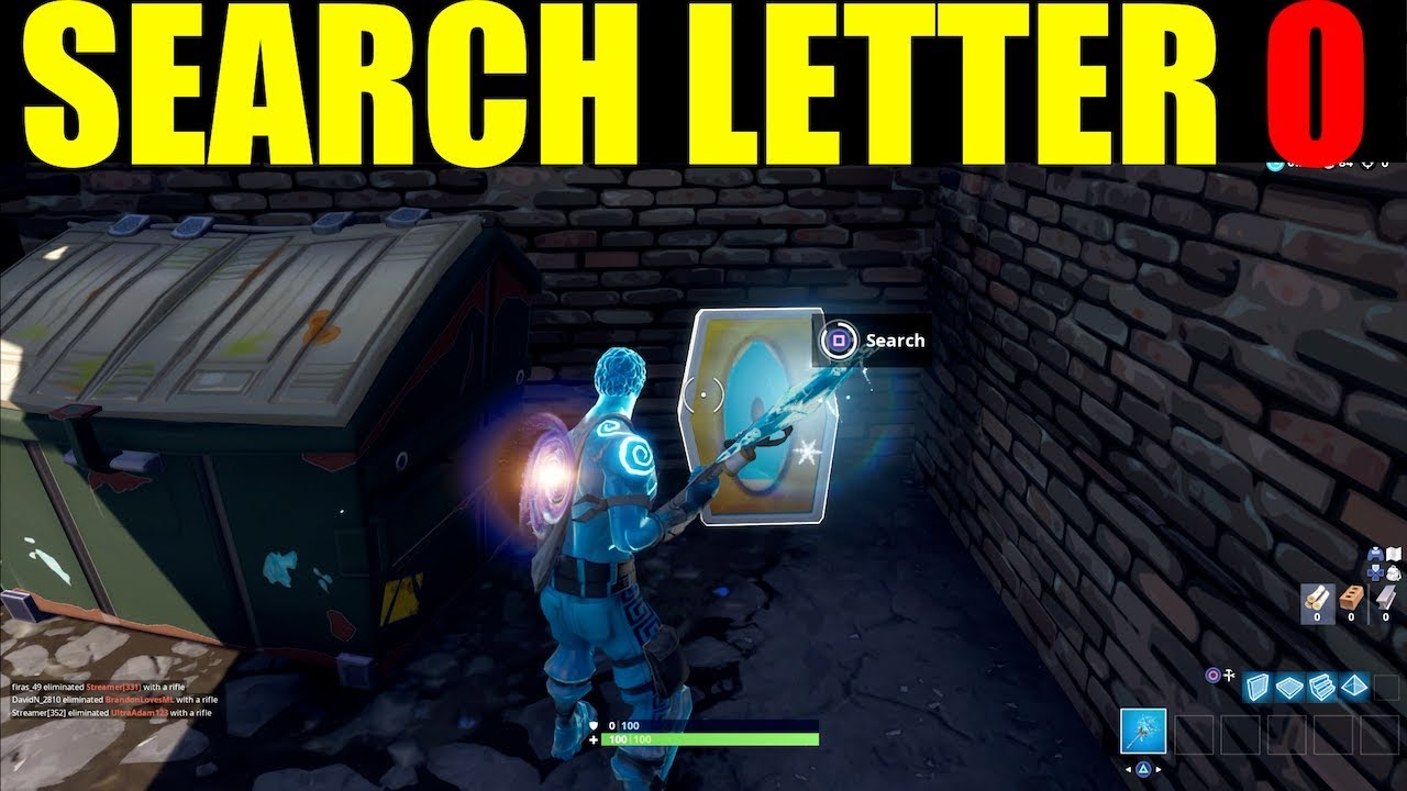 Search The Letter O West Of Pleasant Park Fortnite Week 4