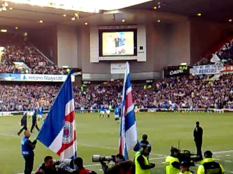 GLASGOW RANGERS IBROX STADIUM SINGING SIMPLY THE BEST. RANGERS V TIMS