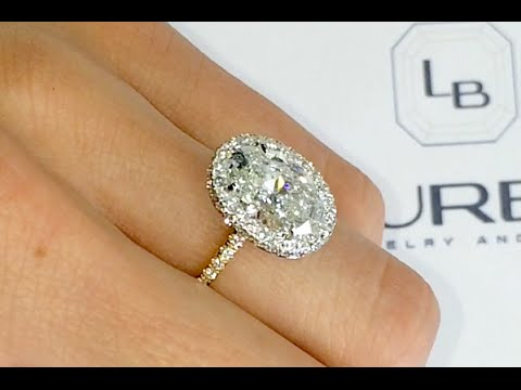 2 70 Ct Oval Diamond Halo Two Tone Engagement Ring Youtube
