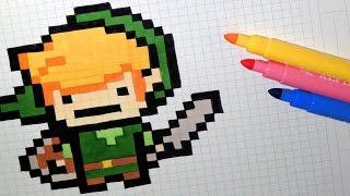 Handmade Pixel Art - How To Draw Kawaii Link (The Legend Of Zelda) #pixelart