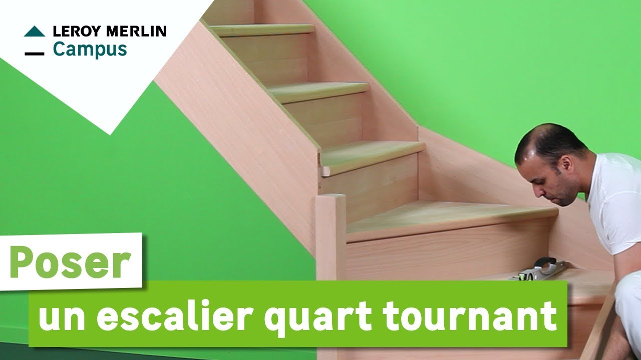 Comment Poser Un Escalier Quart Tournant Leroy Merlin Youtube