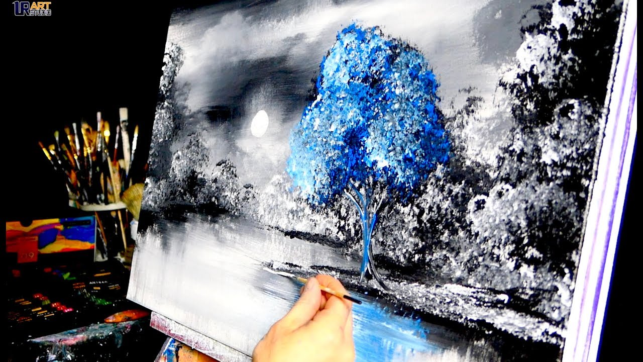 No One Else Blue Tree Acrylic Abstract Landscape Painting By Dranitsin