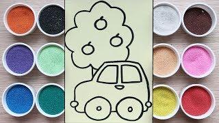 Chị Chim Xinh TÔ MÀU TRANH CÁT ÔTÔ & CÁI CÂY - Đồ chơi trẻ em - Colored sand painting toys