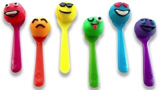 Learn Colors with Play Doh Smiley Faces and Rainbow Spoons Fun & Creative for Toddlers