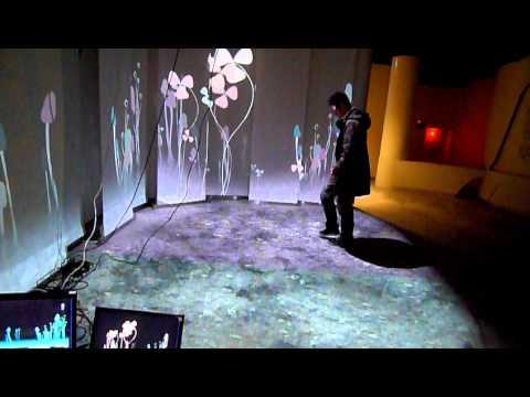 牆面地板情境投影互動裝置 part2 - YouTube