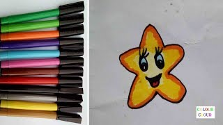 how to draw cute yellow star with button eyes